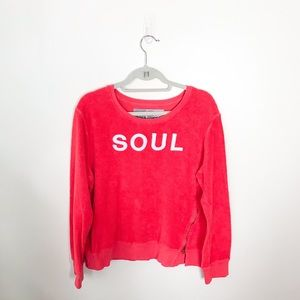 SoulCycle Soul Sherpa Pullover Sweatshirt Red Zip